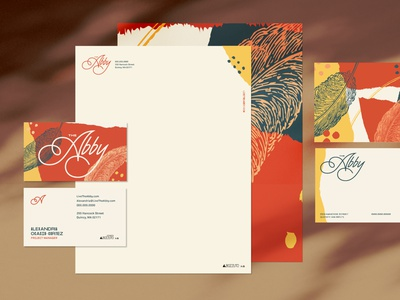 The Abby logo branding stationery design