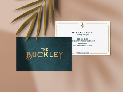 The Buckley logo typography stationery design business card design branding