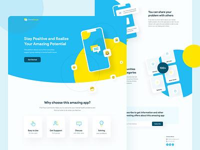 Mental App | Landing Page Exploration user interface flat simple web illustration minimalist mental portfolio clean ui clean layout ui design web design website landing page ux ui