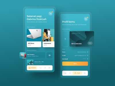 Discount App with Mobile Payment mobile app design teal modern payment app clean minimalism e-wallet credit card discount user experience app design mobile app user inteface ux ui