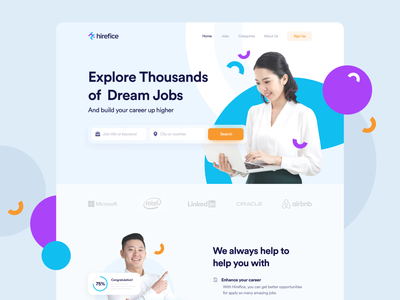 Hirefice | Job Recruitment Website minimal clean startup recruitment website user interface design web design jobs job job hiring recruitment website ux ui saas