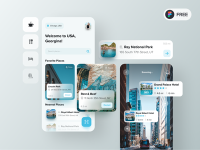 Taravel AR App | Freebies freebies travel augmented reality minimalism application ui design minimal design clean app app design user interface mobile ux ui