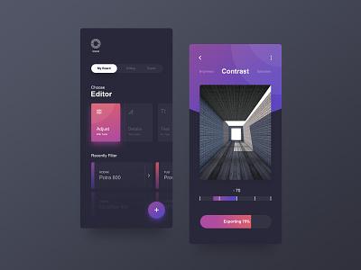 Photo Editor App Exploration application mobile app dark photo editor app design mobile app gradient user interface ux ui