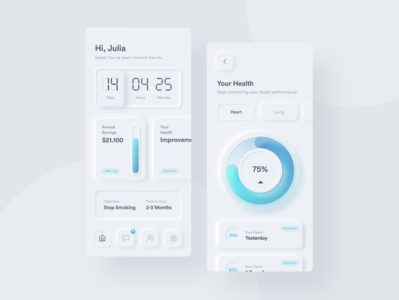 Freedom Pods App | Neumorphic Exploration application mobile design gradient stop smoking user interface neumorphism mobile app uidesign neumorphic ux ui