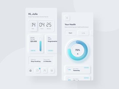 Freedom Pods App | Neumorphic Exploration application mobile design gradient stop smoking user interface neumorphism mobile app uidesign neumorphic ux ui