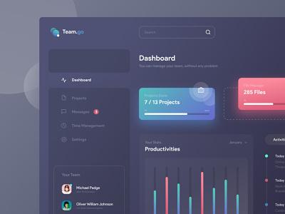 Dashboard TeamGo | Dark Theme Exploration dashboard design product design ui design app team manager web design user interface dark gradient website dashboard ux ui