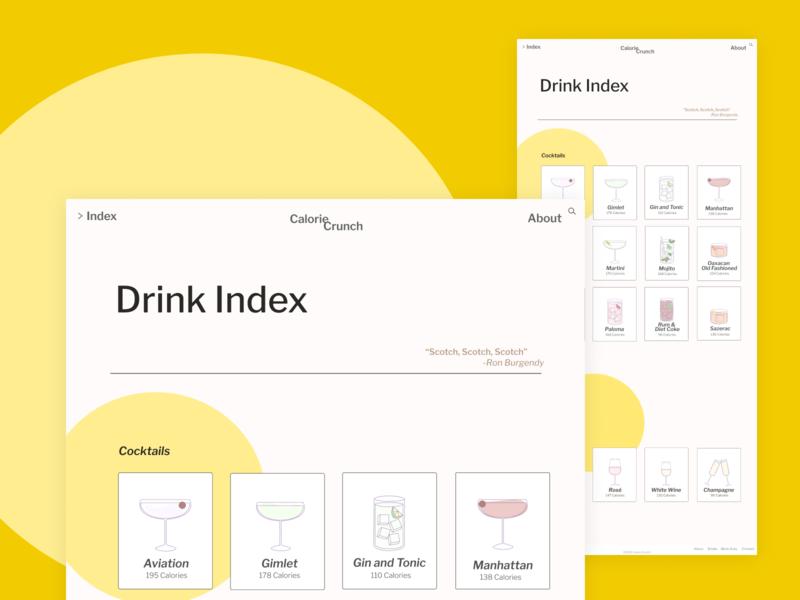 Calorie Crunch Drink Index first shot web ux ui design illustration