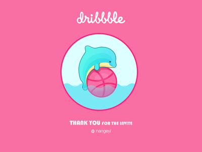 Thankyou dribbble dolphin thanks invitation first shot ball yuhan