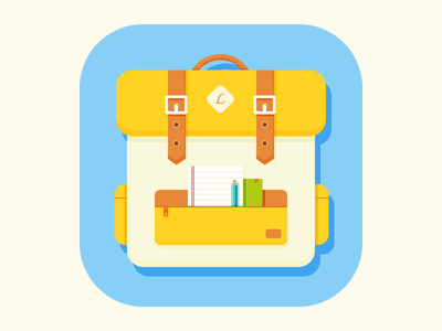 Backpabk_icon backpack blue ios7 illustration yuhan yellow white icon
