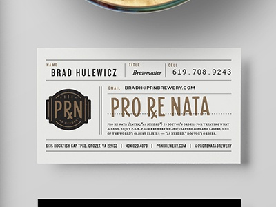 Pro re nata farm brewery business card by mike ryan dribbble mock up2 dribbble colourmoves