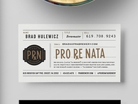 Pro Re Nata Farm Brewery business card