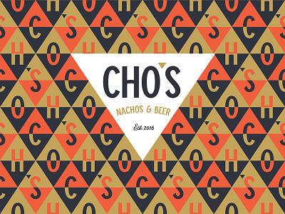 Cho's Nachos & Beer logo pattern logo branding identity beer nacho nachos triangle