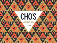 Cho's Nachos & Beer logo pattern