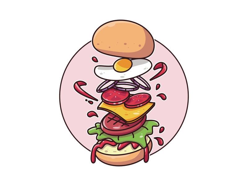 Levitating Burger 🍔🍔😋 burger food illustration food drawing affinity design vector illustration