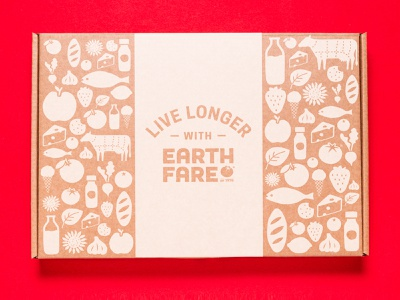 Earth Fare eCommerce Mailer Box grocery online grocery store specialty food shipping ecommerce icon illustration vector design packaging packaging design grocery