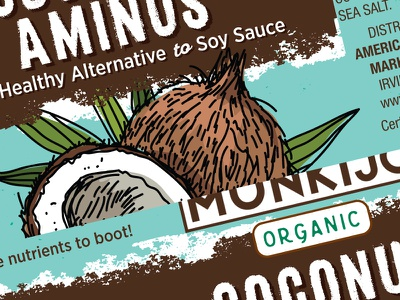 Coconut Aminos WIP art direction packaging design wip design illustration aminos coconut cpg