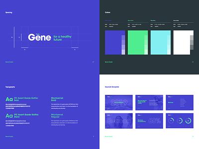 Gene Brand Guide health identity agency guide graphic web website ux ui green brand blue vector typography logo branding graphic design design dubai art direction