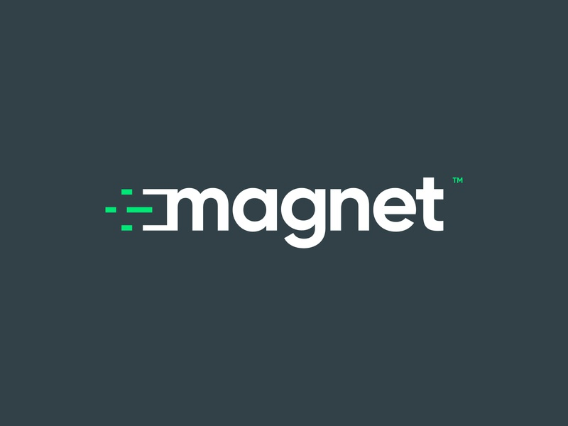 Magnet logotype uae agency branding gray green toronto advertising agency marketing tech identity graphic design vector canada dubai typography design art direction branding logo