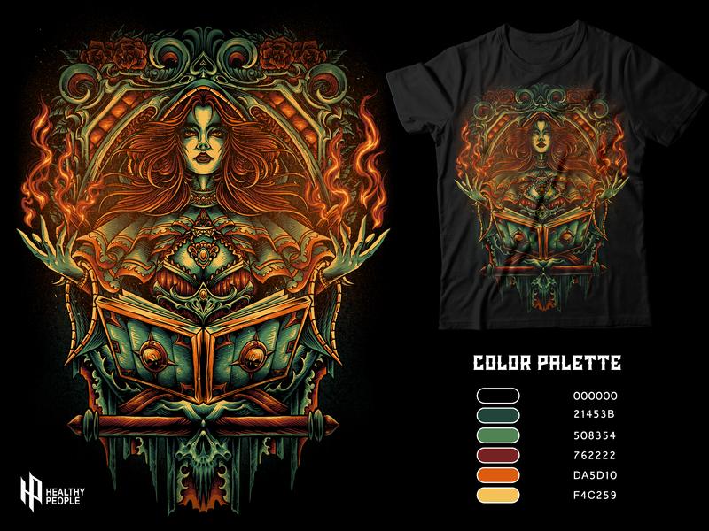 Fire Witch witch magical girl classic metal devil poster digital design merchandise apparel design illustration artwork