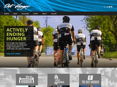 WIP Out Hunger Website website hunger sports cycling non-profit blue green