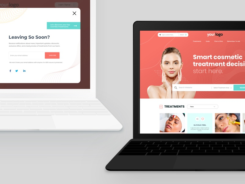 Patient Website(Cosmetic treatment) eleven18 beauty treatment cosmetic health care user interface design user experience design flat app interface ux design ui