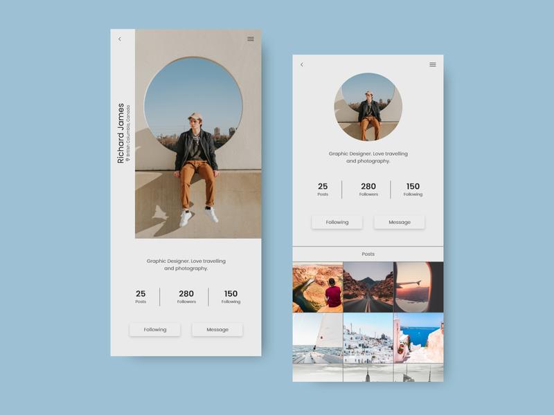 Daily UI user interface design user profile userinterface uiux dailyui app uidesign dribbble 100dayuichallenge web ui design