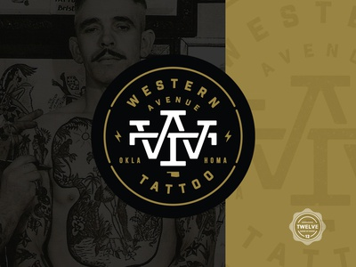 Western Ave. Tattoo (1/3) lockup design monogram identity crest type thicklines badge logo branding