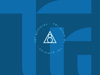 TRI Gummies Branding blue geometric lockup badge identity packaging branding