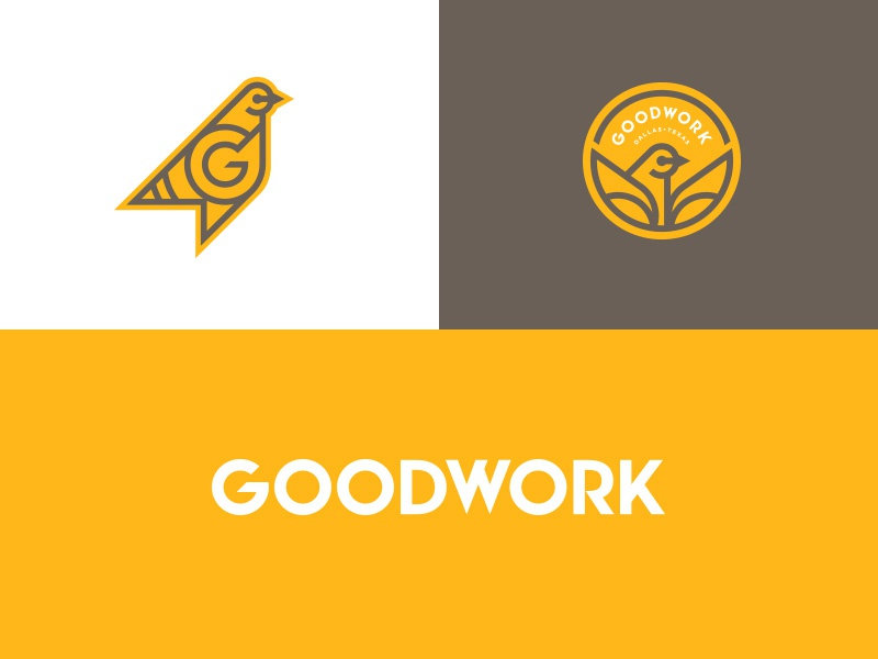 GOODWORK CoWorking yellow badge logotype logo pigeon branding animals bird thicklines geometric mark illustration