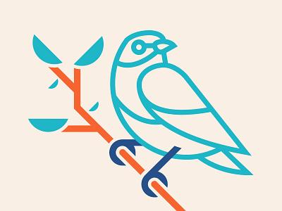 Berd Too thicklines monoline birds lockup badge logo pattern branding illustration
