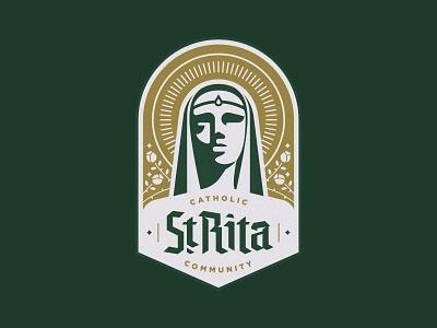 St. Rita Catholic Community Badge halo branding logo face woman roses dallas blackletter church crest badge logo