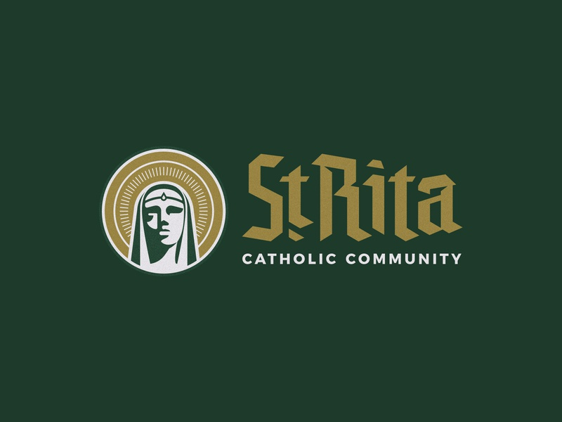 St. Rita Catholic Community Secondary green gold church branding logo catholic blackletter face woman halo crest