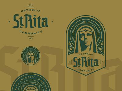 St. Rita Elements green gold logotype crest badge logo type blackletter catholic church branding