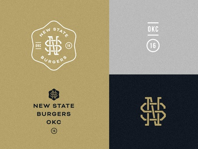 New State Burgers type letters monogram icehouse black gold burgers logo crest badges badge