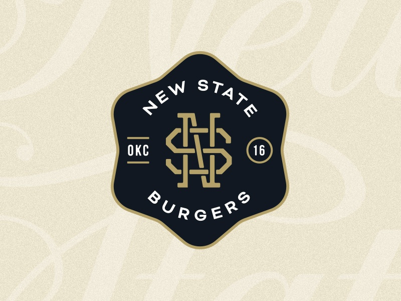 New State Badge badge logo branding logo icehouse burgers gold black monogram crest badges