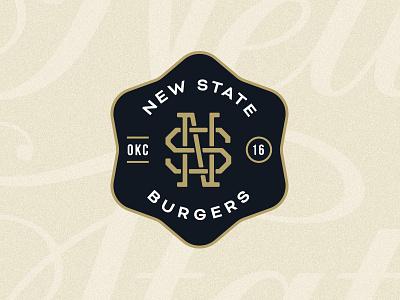 New State Badge badge logo branding logo icehouse burgers gold black monogram crest badges
