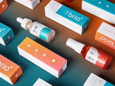 Brio Nutrition photography gradient icon logomark cbd identity design packaging branding