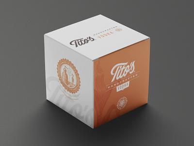 Titos Box brandid brandsystem vodka spirits liquor script type identity branding packaging box