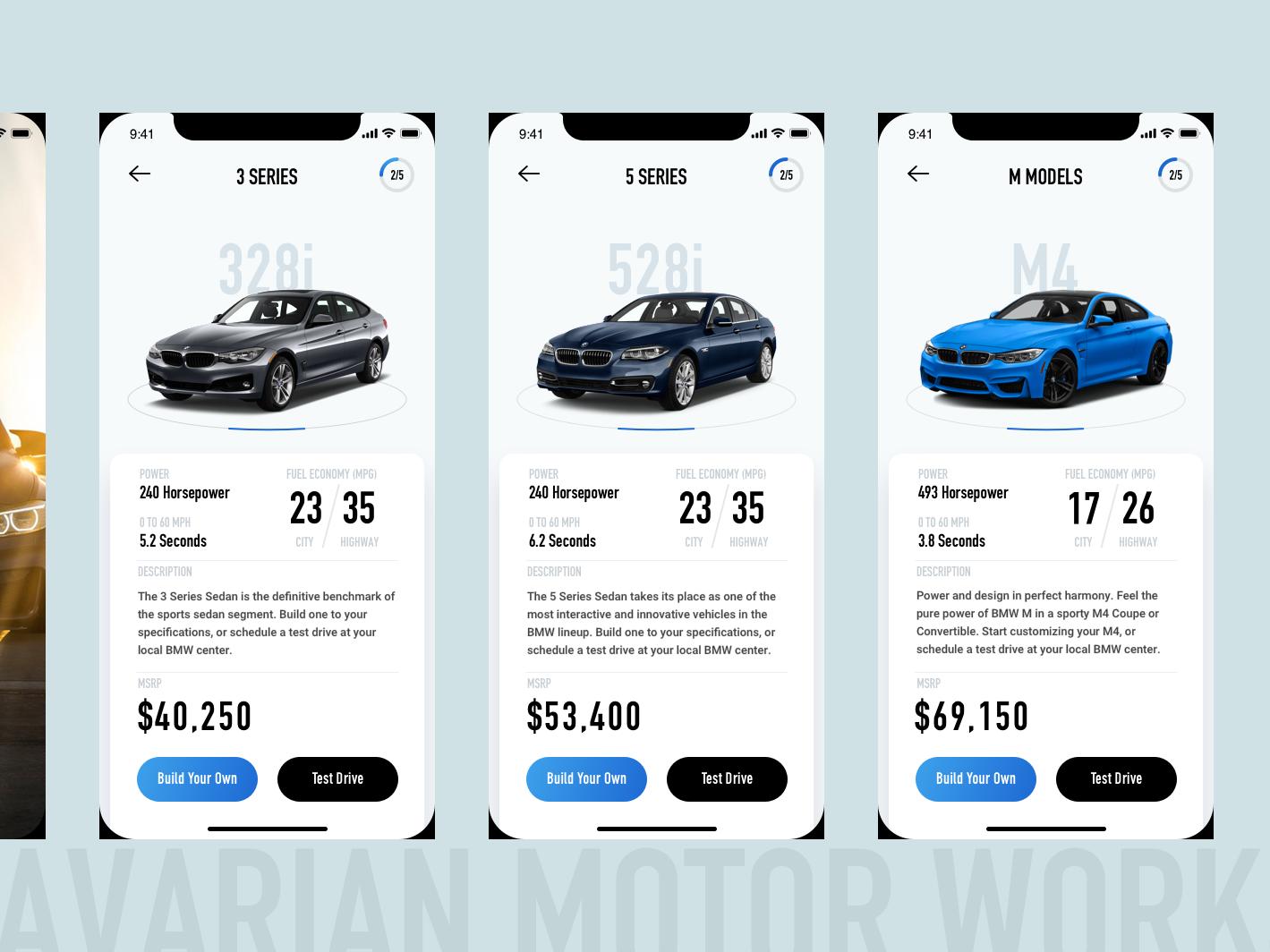 BMW Car Catalog App app ux ui design
