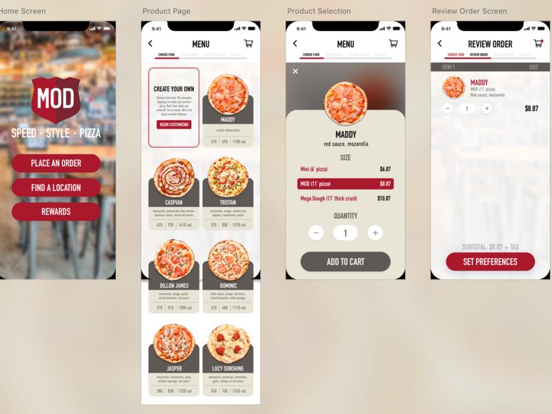 MOD Pizza App logo branding illustration ux ui design app