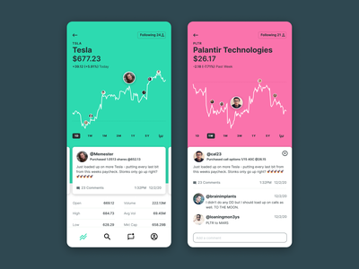 if Robinhood meets /r/wallstreetbets cards ui mobile finance social graphs comments stocks