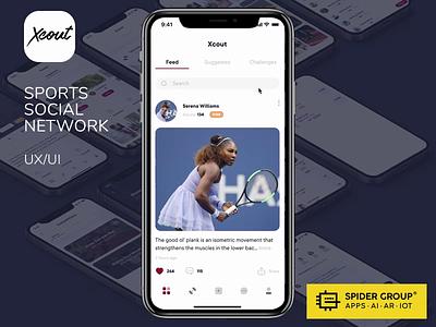 Sports Social Network. UX/UI. Concept UI sport social network ux design ios animation ui interface app