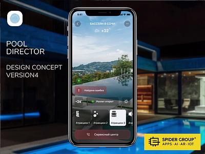 Design Concept  Mobile app for Pool Director. V4 smart home pools mobile app design animation ios