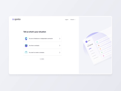 Onboarding register page registration form design situation signupform signup video freelancer independent company register form sign animation website qonto ux ui