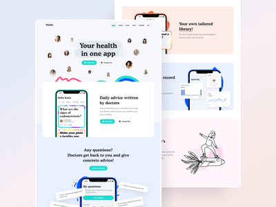 Nabla illustration website branding design landing page landing app emmanuel julliot valentin salmon anagram brand health care health app healthcare nabla logo health branding