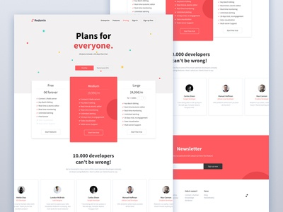 Pricing page emmanuel julliot pricing ui gradient flat design clean redsmin interface web landing red