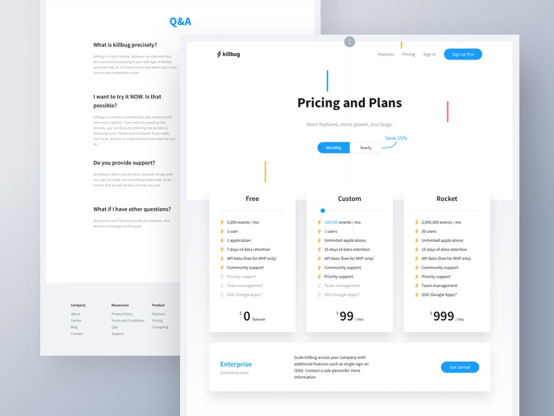 Pricing dribbble