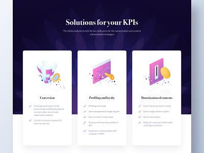 Qiota - Landing web emmanuel julliot ui monetization loyalty profiling conversion kpi interface illustration emmanuel landing page