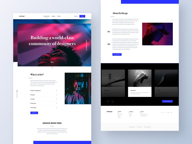 Icebergs - Landing technology production creative strategy project management experts genius community landing page ui landing page freelancers brands icebergs emmanuel emmanuel julliot