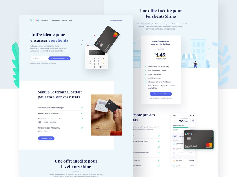 Shine X SumUp 💳💳💳 nfc card reader sumup card reader card sumup website illustration web bank account faq freelancers freelance bank emmanuel julliot landing landing page shine pricing pricing plan pricing page